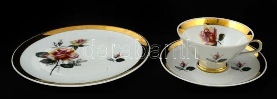 Rieber Bavaria teás csésze és alj + süteményes tányér, hibátlan, matricás, d:18 cm
