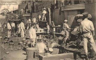 Kohleneinschiffung auf ein Schlachtschiff. Edit Jos. Krmpotic No. 59. / K.u.K. Kriegsmarine, loading of coal