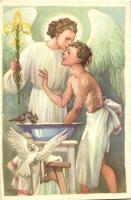 A cserkész testben és lélekben tiszta / scout boy with angel, s: Márton L.