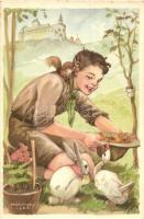 A cserkész szereti a természetet, jó az állatokhoz... Cserkész Levelezőlapok Kiadóhivatal / scout boy s: Márton L.