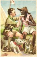 A cserkész minden cserkészt testvérének tekint Cserkész Levelezőlapok Kiadóhivatal / scout boy, black boy s: Márton L. (EK)