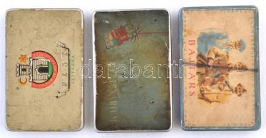 cca 1950 3 db fém szivarkás doboz, 7 csomag terv szivarkapapír