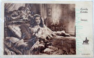 Karády Katalin (1910-1990) színésznő aláírt film reklám lap.