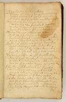 cca 1800 Azonosítatlan személy kézzel írt naplója, benne versekkel, feljegyzésekkel, praktikus tudnivalókkal, kicsit sérült bőrkötésben, kb. 150 oldal, közte üres lapokkal is