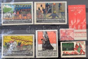 7 db tűzoltó levélzáró / fire guards 7 poster stamps