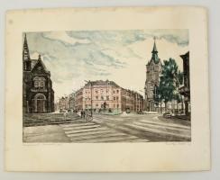 Csurgói Máté Lajos (1931-2001): Kaposvár, Kossuth tér. Rézkarc, papír, jelzett, 27x40 cm