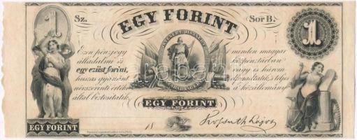 1852. 1Ft Kossuth bankó kitöltetlen B, ívszéllel T:I  Hungary 1852. 1 Forint B, without date and serial number, with left margin C:UNC  Adamo G122