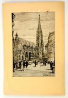 Edu Dombinski: Bécs, Stephansdom. Rézkarc, papír, jelzett, paszpartuban, 28x18 cm