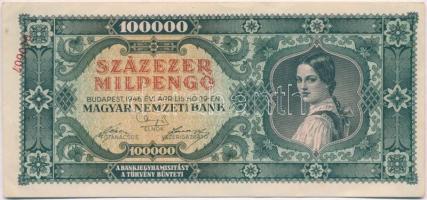 1946. 100.000MP hibás bankjegy banki áthúzással a hátoldalán, sorszám az előlap bal felső sarkában! T:I-,II
