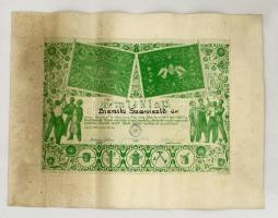 1942 Újpesti Ipartestület, Vas, fém és szerelő szakosztály fenállásának 30 éves évfordulója és zászlószentelése alkalmából kiadott emléklap, hajtásnyomokkal.