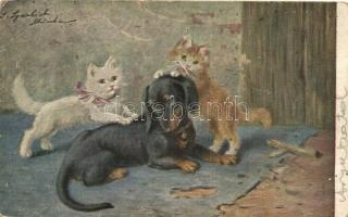 Dachshund dog with cats s: Sperlich (small tear)