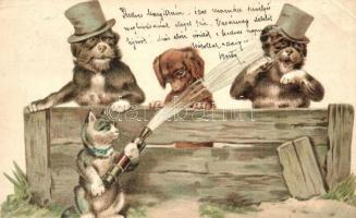Dogs with cat, Emb. litho (EK)