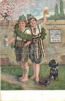 Hurrah durch Dick und Dünn! / WWI K.u.K. military with dachshund s: Toni Áron (fa)