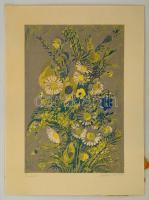 Csavlek András (1942-): Virágok. Szitanyomat, papír, jelzett, 42x28 cm