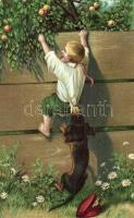 Boy with dachshund, humour, litho H & S. B. No. 1344.