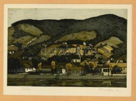 Novák Lajos (1927-1989): Falu. Rézkarc, papír, jelzett, paszpartuban, 29x19 cm