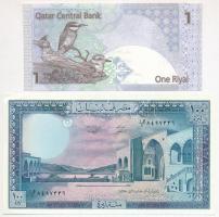 Vegyes: Katar 2003. 1R + Libanon 1988. 100L T:I Mixed: Qatar 2003. 1 Riyal + Lebanon 1988. 100 Livres C:UNC Krause 20; 66