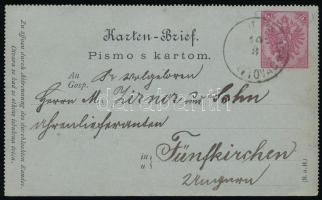 1886 Díjjegyes zárt levelezőlap Antovácról Pécsre