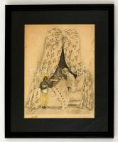 Olvashatatlan jelzéssel: Levélre várva. Színezett rézkarc, papír, sérült, üvegezett keretben, 23×17 cm