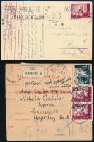 1942 Képeslap Bécsbe cenzúrázva + 1943 Csomagszállító Zágrábból Szarajevóba