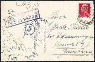 1940 Cenzúrás képeslap Abbáziából Bécsbe