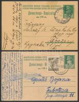 15 db háború utáni jugoszláv díjjegyes közte díjkiegészített