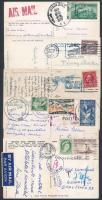 USA, Kanada 1925-1959 5 db Képeslap Magyarországra és Romániába közte portós