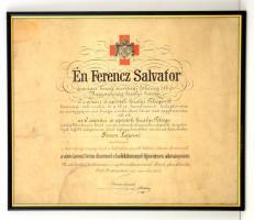 1915 Vöröskereszt bronz díszérmét adományozó oklevél, Ferenc Salvator (1866-1939) főherceg aláírásával, sérülésekkel, üvegezett fa keretben.