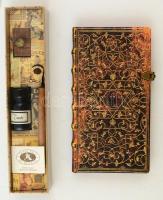 Paperblank antik hatású bőrkötésű jegyzettömb rézcsattal + író készlet. / Grolier style bookbinding