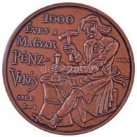 Lebó Ferenc (1960-) 2001. MÉE - 1000 éves a magyar pénzverés / 100 éves a magyar Numizmatikai Társulat Br emlékérem (42,5mm) + 2000. MÉE köszönti az államalapítás ezredik évfordulóját Br emlékérem (42,5mm) T:1-