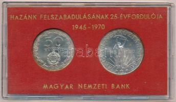1970. 50Ft Ag + 100Ft Ag Felszabadulás pár, eredeti sérült MNB plasztiktokban (piros) T:BU