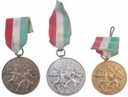 ~1930-1940. Levente verseny 3db sportérem szalaggal, aranyozott, ezüstözött fém díjérmek. Szign.: Berán Lajos T:2 patina