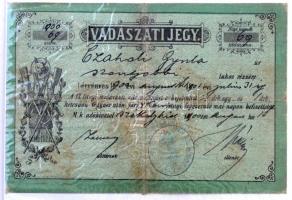 1900 Vadászjegy / Vadászati jegy / Hunting licence