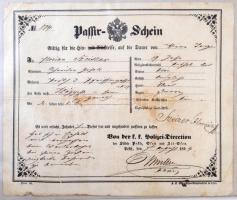 1854 Pest városában kiadott útlevél Passir Schein / Passport