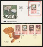 Gomba sor + blokk FDC-n Mushrooms set + block FDC