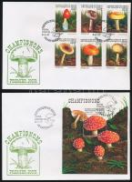 Gomba sor + blokk 2 db FDC-n Mushrooms set + block on 2 FDC