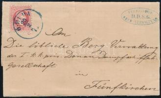 1871 5kr levélen / on cover kék/blue Ó-BUDA - Fünfkirchen