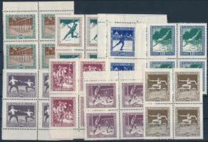 1925 Sport sor négyes tömbökben (56.000) / Mi 403-410 blocks of 4 (ráncok, elvált fogak / creases, aparted perfs)