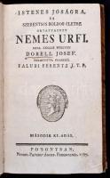 Faludi Ferentz: Istenes jóságra, és szerentsés boldog életre oktatott nemes urfi. Irta ánglus nyelven Dorell Josef. Forditotta olaszból Faludi Ferentz. Második kiadás. Posonyban és Kassán, 1787. Füskúti Landerer. 2 lev. 244 l. 1 lev. Korabeli papírkötésben, szép állapotban . Faludi Ferenc (1774-1779) író, költő, műfordító. A maga korában igen nagy hatással bírt morálfilozófiai témájú átdolgozásaival. Ezek közül az első az angol származású jezsuita szerző, Dorell pedagógiai munkája volt, mely a a XVII. századi előkelő angol családok pedagógia vezérkönyvévé vált. Az átültetés csak részben fordítás, részben szellemes átdolgozás.