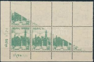 1953 Mi 404 ívsarki nyolcastömb, 1 bélyeg teljes, 5 részleges gépszínátnyomattal / corner block of 8, 1 stamp with complete, 5 with partial machine offset