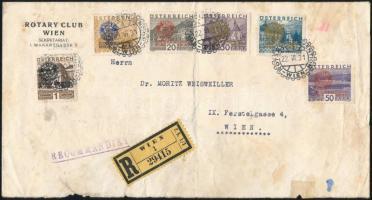 Rotary set on registered cover, Rotary sor ajánlott levélen
