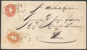 """~1863 10kr on 5kr PS-cover """"UNGHVÁR"""" - """"KASCHAU"""" - """"WIEN"""", ~1863 10kr 5kr díjjegyes borítékon """"UNGHVÁR"""" - """"KASCHAU"""" - """"WIEN"""""""
