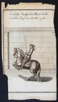 Abraham van Diepenbeck (1596-1675) 7 db lovaglást, lovaglóiskolát ábrázoló rézmetszet. William Cavendish: Neu-eröffnete Reit-Bahn c. rendkívül keresett és ritka munkájából. Megjelent Nürnberg, 1700, Johann Michael Spörlin für Johann Zieger & Georg Lehmann,  A metszetek 7 féle lovaglásmódot ábrázolnak, német és francia nyelvű feliratokkal. A Metsző, Diepenbeck van Dyck tanítványa volt.  A metszetek szélei sérültek, több foltos. A képek mérete kb: 19x31 cm /  Abraham van Diepenbeck (1596-1675): 7 etchings of horses and horse riding-school figures from the rare work:  William Cavendish: Neu-eröffnete Reit-Bahn. Nürnberg, 1700,  The etchings are mostly stained and the margins are damaged. Size of an image 19x31 cm