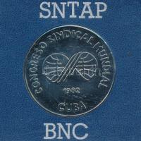 Kuba 1982. Congreso Sindical Mundial (Szakszervezetek Világkongresszusa) fém emlékérem lezárt plasztiktokban (37mm) T:BU Cuba 1982. Congreso Sindical Mundial (World Trade Union Congress) metal commemorative medal in sealed plastic case (37mm) C:BU