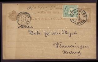 1887 Színesszámú 3kr bélyeggel kiegészített díjjegyes levelezőlap Budapestről Hollandiába