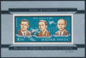 1971 Szojuz 11 vágott blokk (3.000)