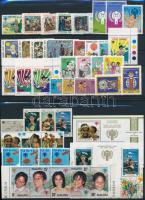 Year of Children 12 sets + 3 stamps + 2 blocks, Gyermekek éve 12 klf sor + 3 klf önálló érték + 2 klf blokk 2 db stecklapon