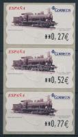 Automatic stamps stripe of 3 with 3 diff. face values, Automata bélyeg hármascsíkban 3 klf névértékkel