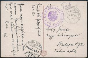 """Képeslap / Postcard """"K. u. K. HAUPTFELDPOSTAMT 154"""" + """"HFP 154"""", Austria-Hungary field postcard"""