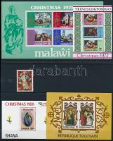 1972-1995 Karácsony motívum 7 klf blokk + 1 db önálló érték 4 db stecklapon